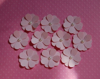 Paper Flowers in Pastel Pink-Set of 10 Flowers-1 Inch Size-Wedding Decoration-Baby Shower-Card Making-Scrapbooking-Tiny-Craft-Ready to Ship