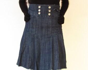 Short jeans skirt by Miss Jeans, jeans funky fitted skirt, Short denim skirt