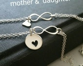 Mother of the bride gift, mom and daughter heart bracelets - infinity bracelets - gold or 925 sterling silver - mothers day gift