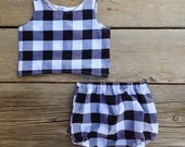 Buffalo plaid Baby girl bloomers and top black and white plaid photo shoot outfit girl size 6 months 6m 6 m baby clothes half birthday