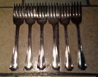 6 Matched Silver Plate Salad Forks