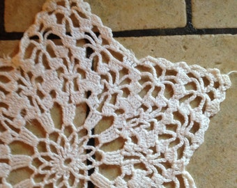 Pair of Matching White Star Hand-Crocheted Doilies