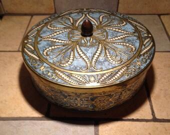 Ornate Blue Tin Box