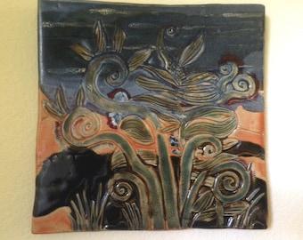 "handmade CERAMIC Wall Plaque, wall ART, ""In the Garden"""