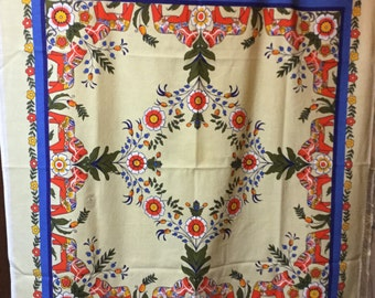 Vintage Dala Horse Print Cotton Tablecloth Red Blue White Hoses Floral Pattern