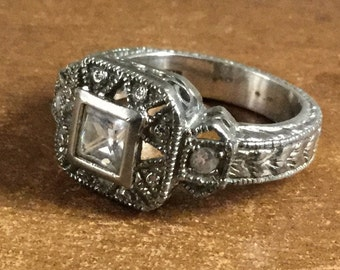 "Art Deco Style Cubic Zirconia Ring Size 8 1/2 Signed ""925"" Ornate Highly Detailed Square and Round Cut CZ's"