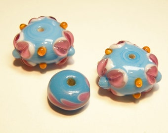 DESTASH -- Coordinating Set of Three (3) Lampwork Beads: Turquoise Blue and Raspberry Pink  ---- Lot 3G