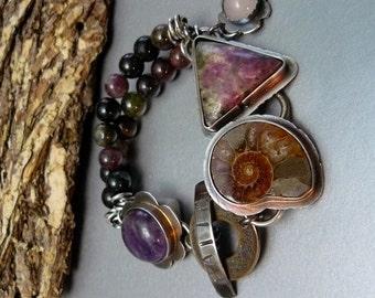 Amethyst Bracelet, Ruby Zoisite,  Ammonite Fossil,  Tourmaline Bracelet, Gemstone Bracelet, Sterling Silver, Art Jewelry, Artisan Jewelry