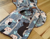 Burp Cloth and Snap Bib Set for Baby, Chenille Back, ready to ship. Bears in Trees