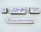"Valentine 4 Piece ANM Rubber Stamp Set,""I Love You"", ""Missing You"", ""Happy Anniversary"", Mini Heart Stamps, Supplies, Paper Craft Destash"