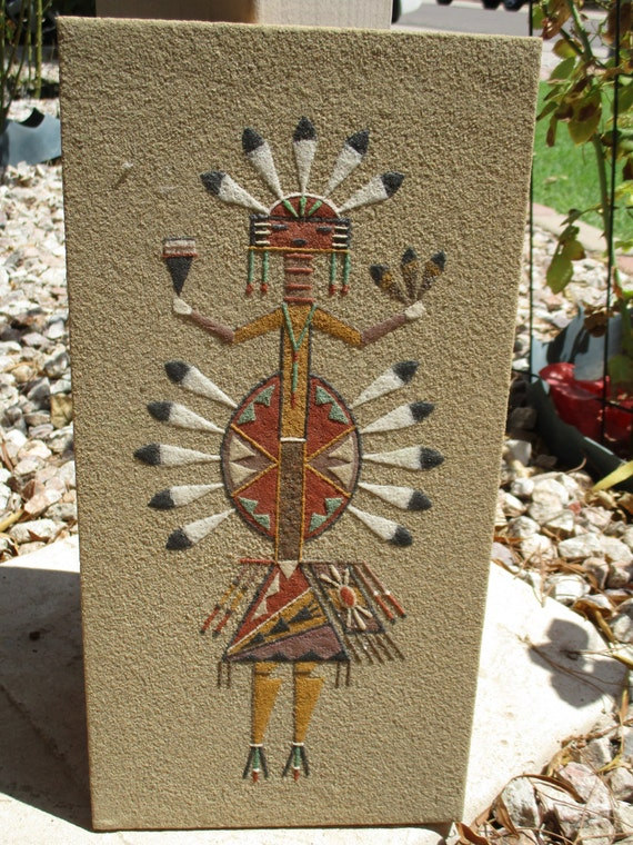 Vintage Native American Sand Painting Female Whirling Wind