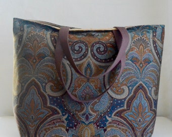 Blue Damask Jacquard BIG Carry All Tote Bag - Ready to Ship