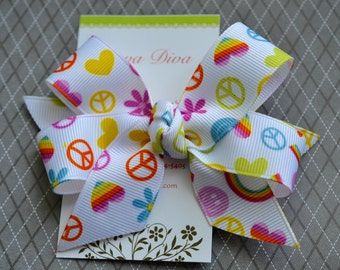 Peace and Rainbows Classic Diva Bow