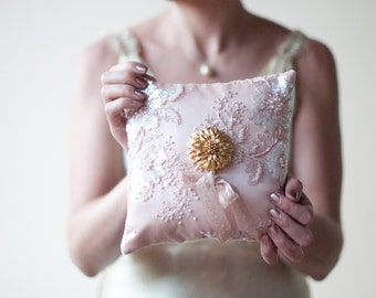 Ring Pillow, wedding lace ring bearer pillow, blush, dusty pink, romantic fabric flower with gold vintage jewelry, sequins sparkle