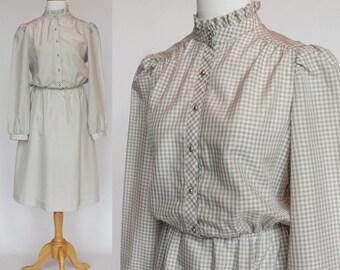 70's / 80's Shirtwaist Dress / Gray Check / Elastic Waist / Small