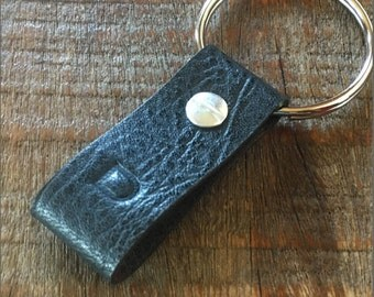 Monogrammed Textured Black and Brown Leather Keychain - Short & Wide Style