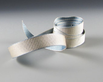 """5/8"""" and 1.25""""  Seraphine  GRAY FRENCH BLUE Reversible Grosgrain Ribbon"""