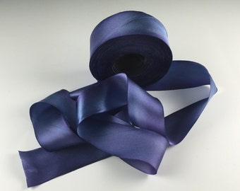 "1.5"" WEDDING SILK Satin RIBBON Hanah Silks Lobelia by the yard"