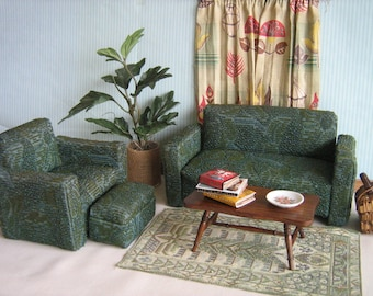 Awesome Vintage Mid Century 50s Frieze Upholstered Sofa, Chair and Ottoman in Play Scale