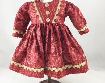 "18"" Doll Christmas Dress Deep Red and Burgundy Holly with Gold Accents with Gold Dots Matching Hair Bow"
