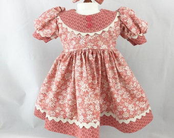 "Dress Fits 18"" Girl Dolls Short Sleeves Pretty Peach And Bone Daisy Print Tone on Tone Accents Matching Hair Bow"