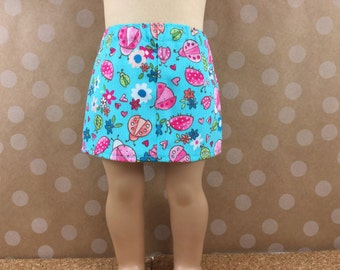 Fits American Girl and 18 Inch Dolls Clothes Turquoise Print Twill Straight Mini Skirt Pink and Green Ladybugs Girls Toy