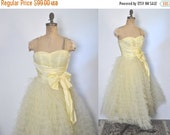 SALE 1950s Prom Party Dress / Yellow lace tulle gown / XS