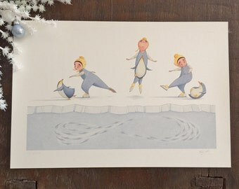 Flora and the Penguin- Fish Figure Eight- Limited Edition Signed Print
