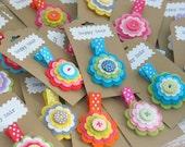 20 x Handmade Felt Flower Hair Clips / Wholesale / Felt Flower Clippies / Bulk Buy for Resale / Party Favours