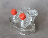 Vintage 1940's Glass Salt and Pepper Shakers Chicken Tail Base Red Lids