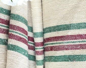R 462 antique hemp linen RASPBERRY GREEN upholstery 8.744yards handloomed benchcushion 캔버스 자루 Beachhouse look