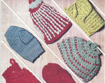 Tea Cosies and Oven Mitts Vintage Knitting and Crochet Pattern 530