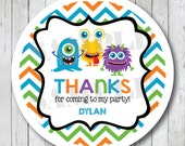 Monster Stickers . Personalized Chevron Monster Favor Tags or Labels, Monster Bash Party Stickers
