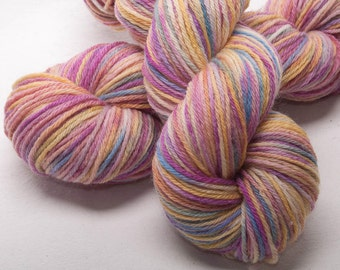 Hand dyed yarn, Bluefaced Leicester,  BFL Hand painted yarn, DK yarn skein, 100g skein, colour; Grace