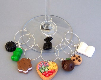 8 food wine charms, wine glass charms, polymer clay fake sweets, cake, pastry, cookies, candy, cupcakes, dining barware, Hostess gift, faux