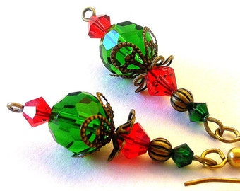 Emerald green and red earrings, vintage inspired Christmas holiday sparkle