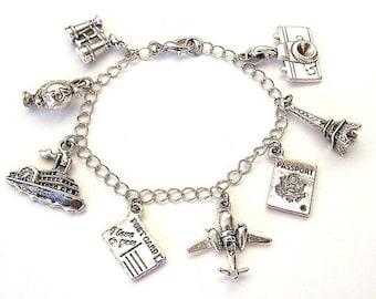 Travel bracelet or travel necklace, travel charm bracelet, love to travel, antiqued silver, 8 charms
