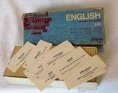 Vintage English Cards Vocabulary Collage Mixed Media Home School Assemblage Art Spelling Small Flash Cards Homeschool School Supplies