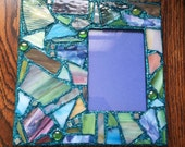 Blue Glitter Stained Glass Mosaic Picture Frame (holds a 5 x 7 photograph)