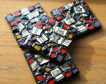 Modern Flower Mosaic Coasters (Set of 4)