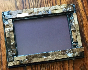 Stone Mosaic Picture Frame (holds a 4 x 6 photograph)