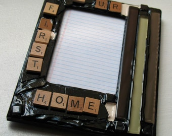 Scrabble Inspired - Our First Home Picture Frame (holds a 4 x 6 photograph)