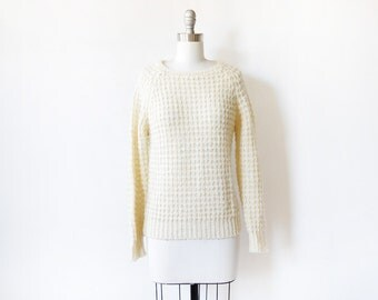 vintage cream sweater, 80s nubby knit white sweater, french vanilla sweater, small medium