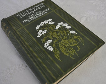 First Edition Antique 1910 Wild Flower And Garden Book W Beautiful Plates/Alpine Flowers And Gardens/Painted and Described By G. Flemwell
