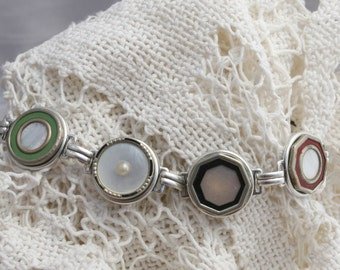 Antique Victorian Button Cufflink Bracelet Made with 7 Antique and Vintage Mother of Pearl Cufflinks