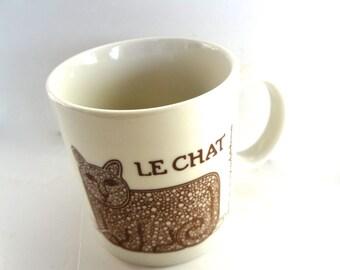 Vintage Le Chat Cat Mug Taylor & Ng  1978  Brown And White