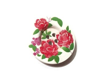 Red peony flowers wooden sewing button 1.5 inch
