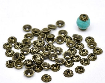 ON SALE Flower Bead Caps Antique bronze beadcaps 7mm 30pcs  (JF517)