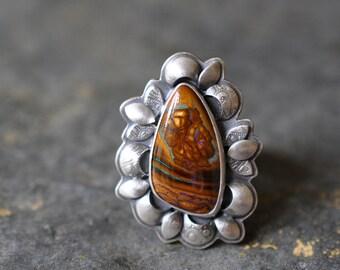 Sterling Opal Ring, Oxidised Sterling Silver Ring, Gemstone Metalwork Ring, Boulder Opal Ring, Koroit Opal Ring