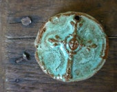 Rich Rustic Turquoise Boho Western Cowgirl Cross Slab Pendant Ceramic Clay Pottery